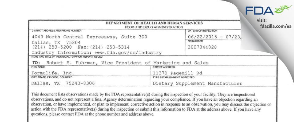 Formulife FDA inspection 483 Jul 2015