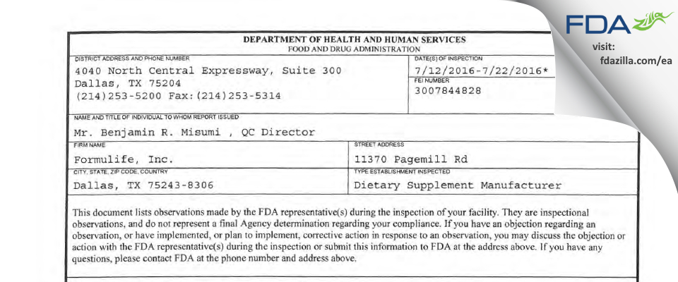 Formulife FDA inspection 483 Jul 2016