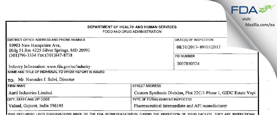 Aarti Industries FDA inspection 483 Sep 2017