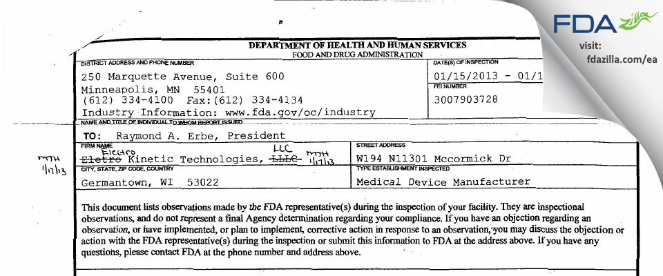 Electro Kinetic Technologies FDA inspection 483 Jan 2013