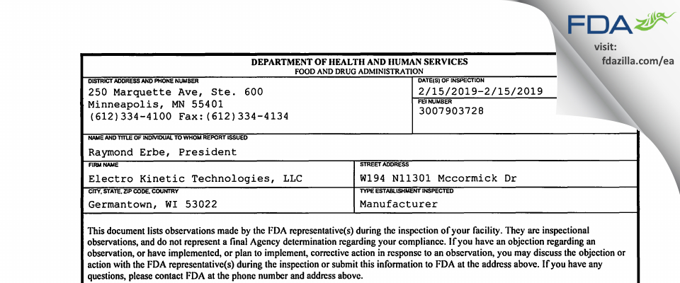 Electro Kinetic Technologies FDA inspection 483 Feb 2019