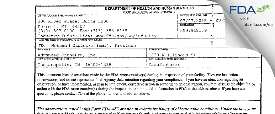Advanced OrthoPro FDA inspection 483 Jul 2015