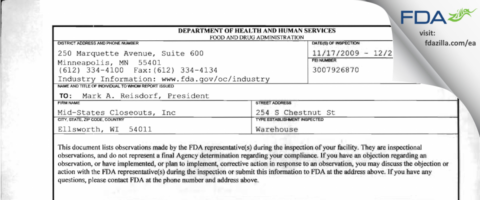 Mid-states Closeouts FDA inspection 483 Dec 2009