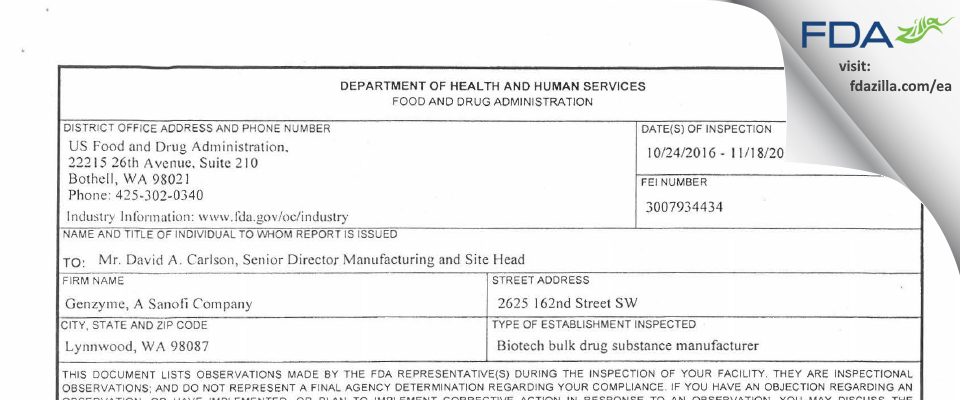 Genzyme A Sanofi Company FDA inspection 483 Nov 2016