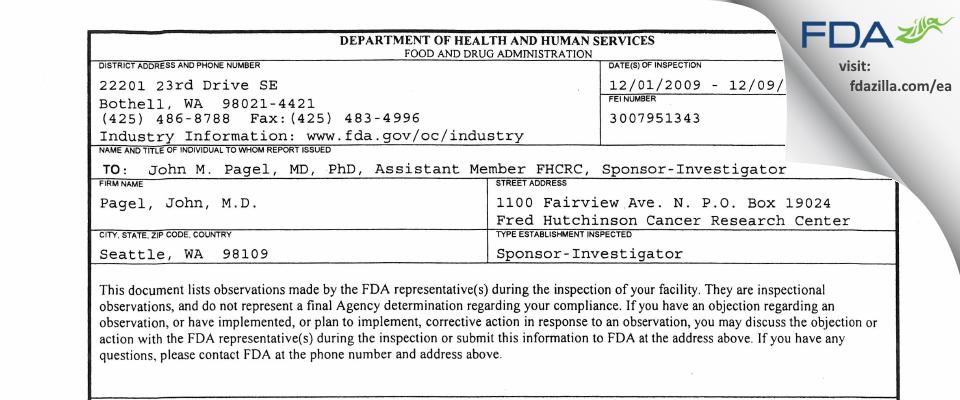 John M. Pagel FDA inspection 483 Dec 2009