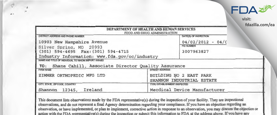 ZIMMER ORTHOPEDIC MFG FDA inspection 483 Apr 2012
