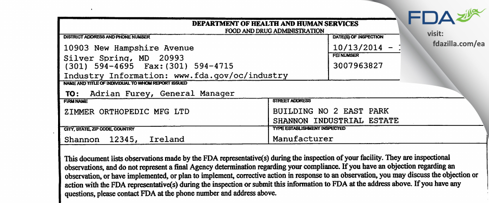 ZIMMER ORTHOPEDIC MFG FDA inspection 483 Oct 2014