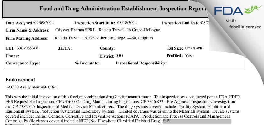 Odyssea Pharma SPRL FDA inspection 483 Aug 2014
