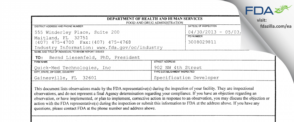 Quick-Med Technologies FDA inspection 483 May 2013
