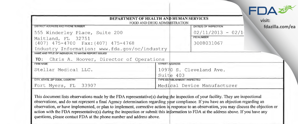 Stellar Medical. FDA inspection 483 Feb 2013