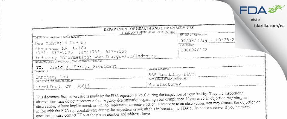 Par Pharmaceutical FDA inspection 483 Sep 2014