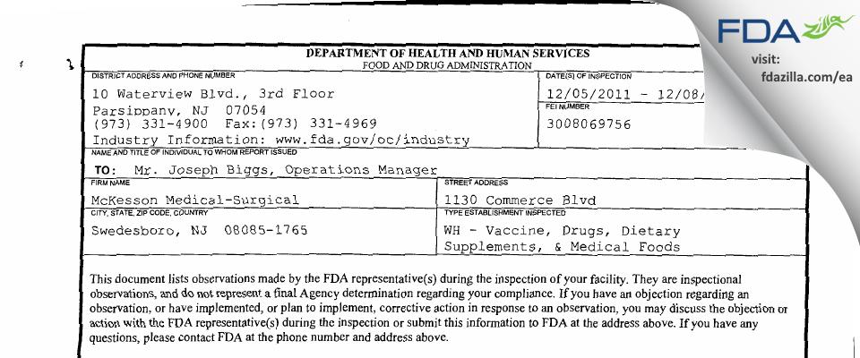 McKesson Medical-Surgical FDA inspection 483 Dec 2011