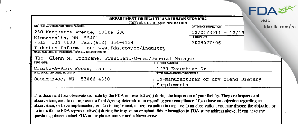 Create-A-Pack Foods FDA inspection 483 Dec 2014