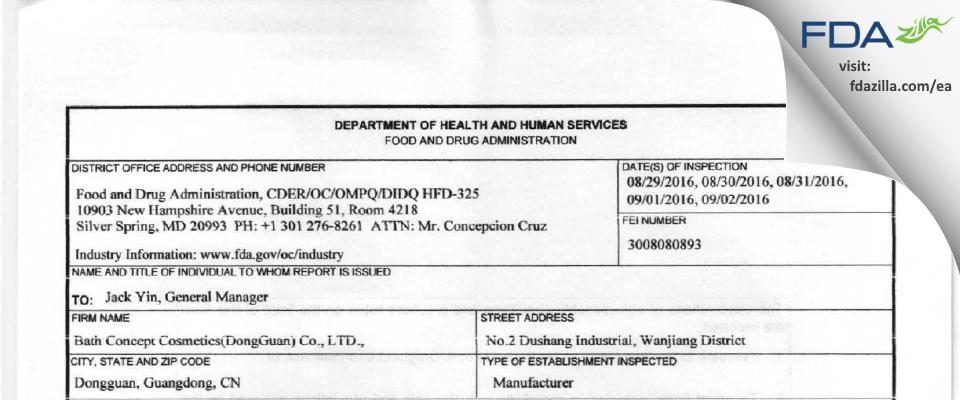 Bath Concept Cosmetics (DongGuan) FDA inspection 483 Sep 2016