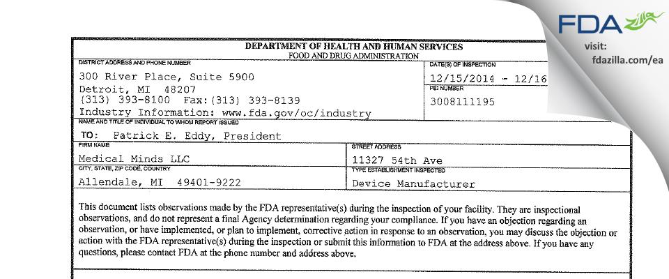 Medical Minds FDA inspection 483 Dec 2014