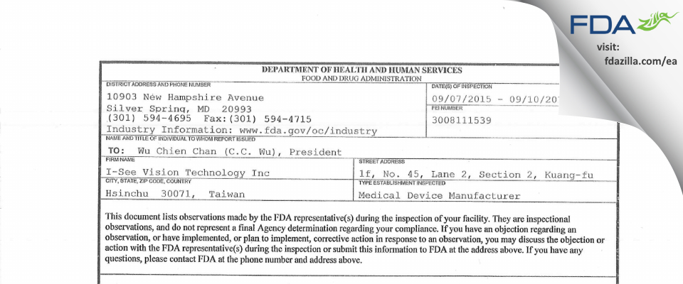 I-see Vision Technology FDA inspection 483 Sep 2015