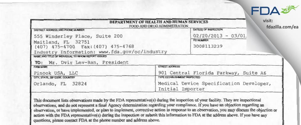Pinook USA FDA inspection 483 Mar 2013