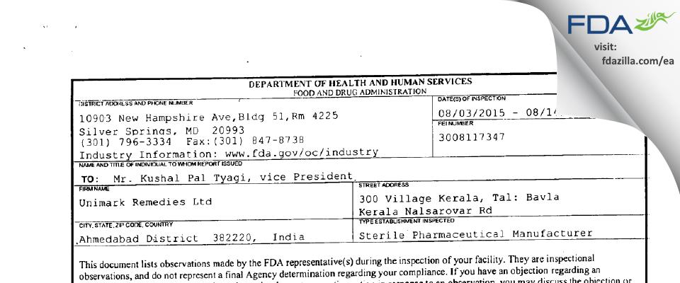 Unimark Remedies FDA inspection 483 Aug 2015