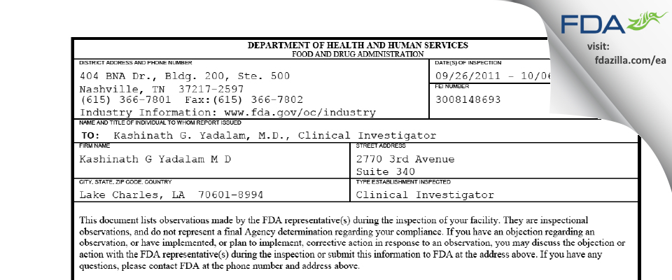 Kashinath G Yadalam M D FDA inspection 483 Oct 2011