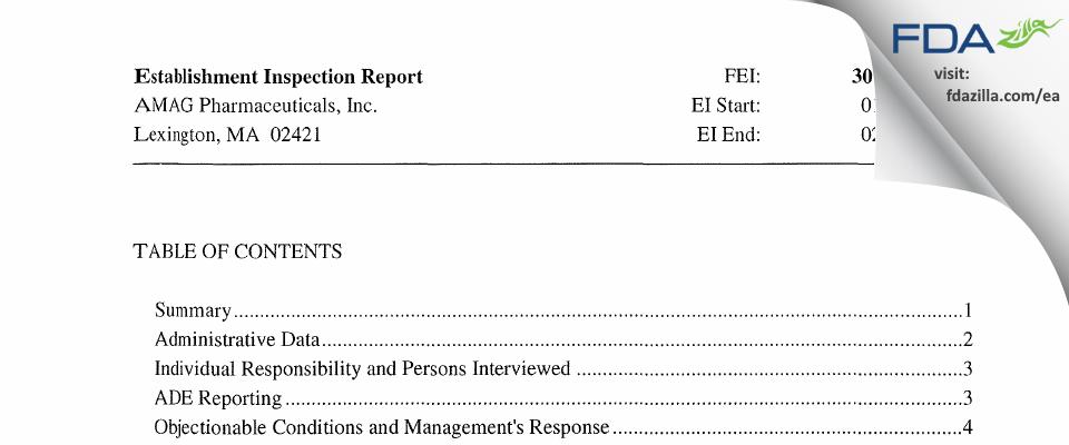 AMAG Pharmaceuticals FDA inspection 483 Feb 2013