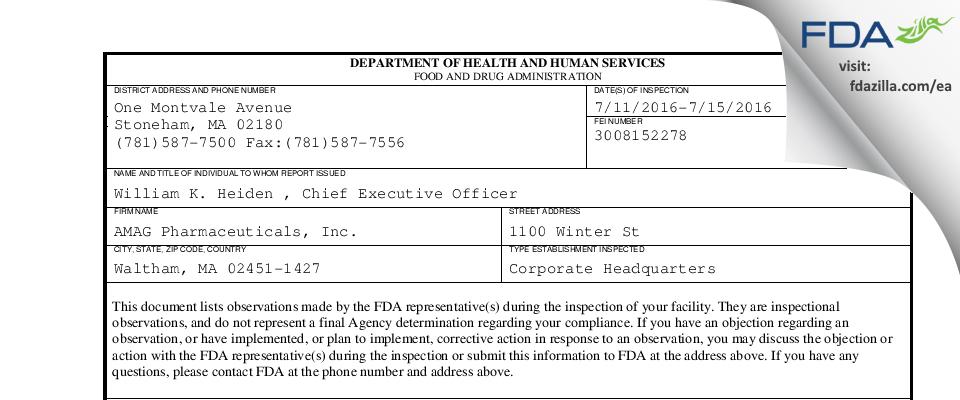 AMAG Pharmaceuticals FDA inspection 483 Jul 2016