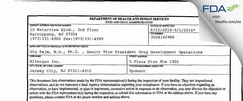 Allergan, PLC. FDA inspection 483 Sep 2016