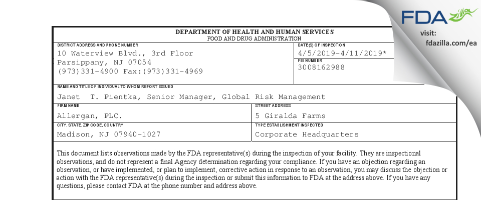 Allergan, PLC. FDA inspection 483 Apr 2019