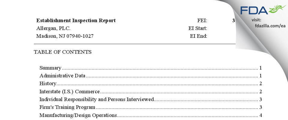 Allergan, PLC. FDA inspection 483 Apr 2019