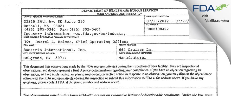 Bacterin International FDA inspection 483 Jul 2012