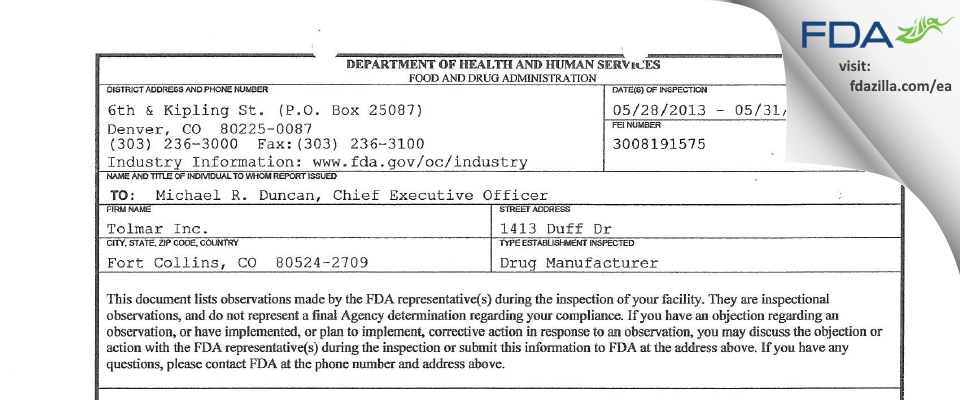 Tolmar FDA inspection 483 May 2013