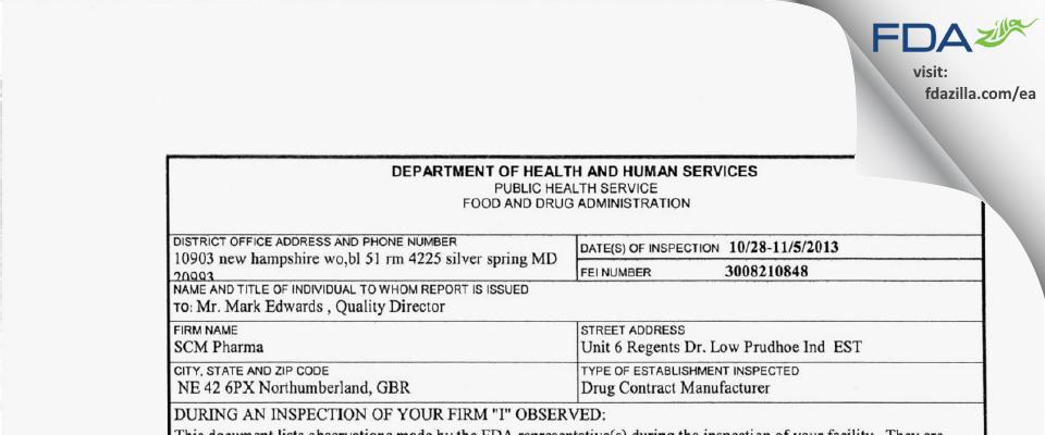 SCM Pharma FDA inspection 483 Nov 2013