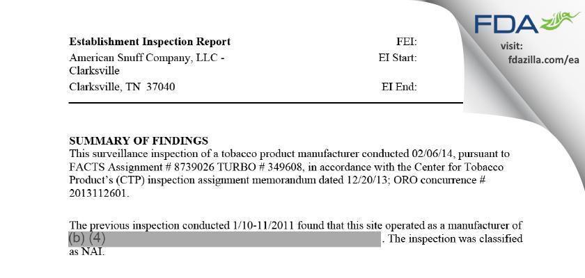 American Snuff Company - Clarksville FDA inspection 483 Feb 2014