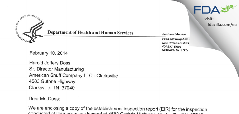 American Snuff Company - Clarksville FDA inspection 483 Jan 2012