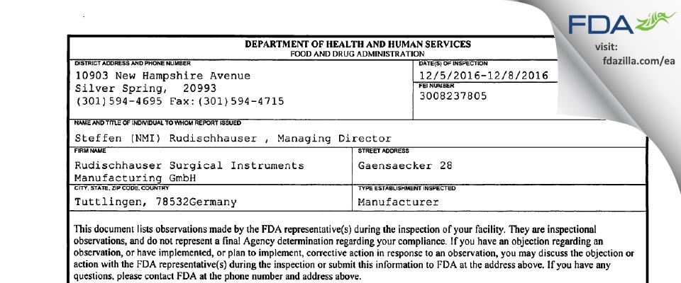 Rudischhauser Surgical Instruments Manufacturing FDA inspection 483 Dec 2016