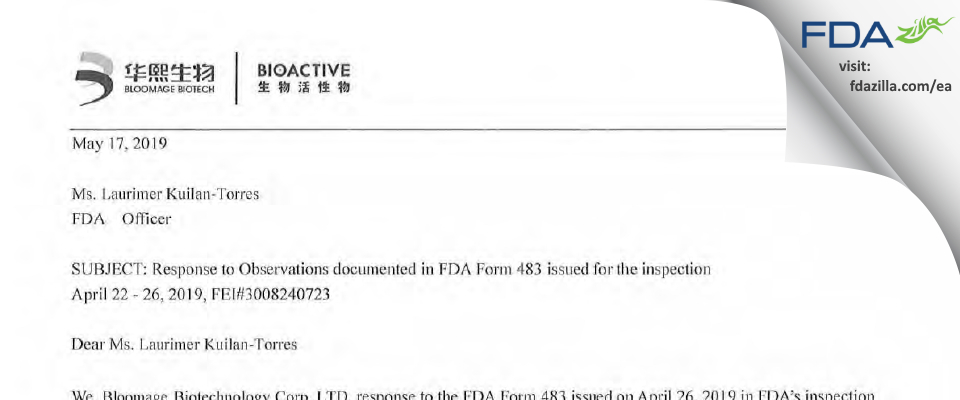 Bloomage Freda Biopharm FDA inspection 483 Apr 2019