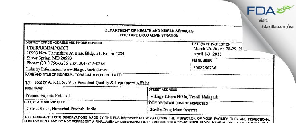 Sentiss Pharma FDA inspection 483 Jul 2014