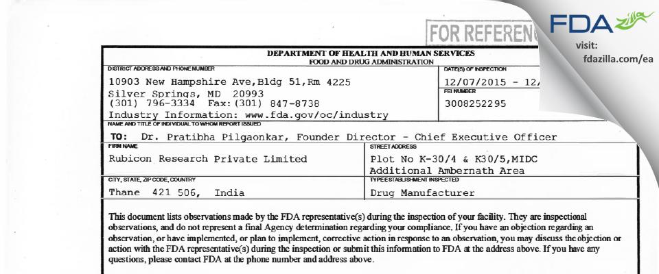 Rubicon Research Private FDA inspection 483 Dec 2015