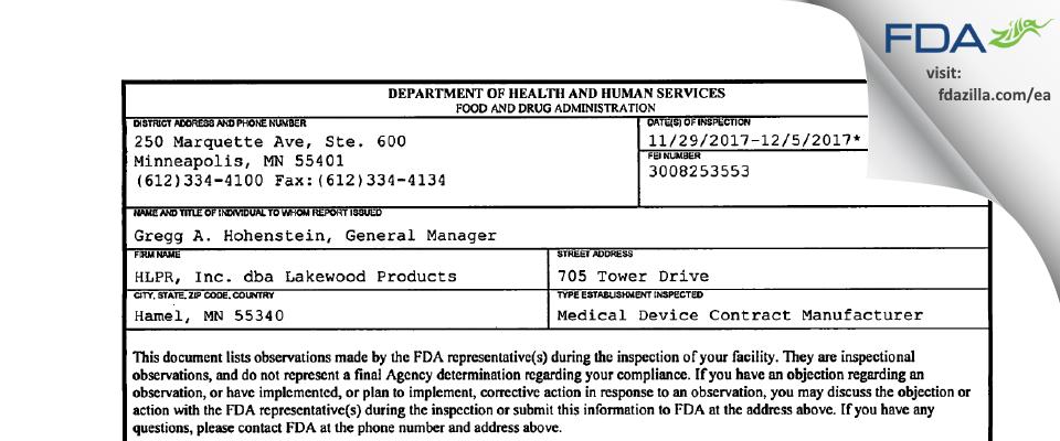 HLPR dba Lakewood Products FDA inspection 483 Dec 2017