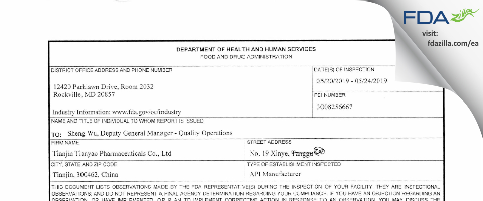 Tianjin Tianyao Pharmaceuticals FDA inspection 483 May 2019
