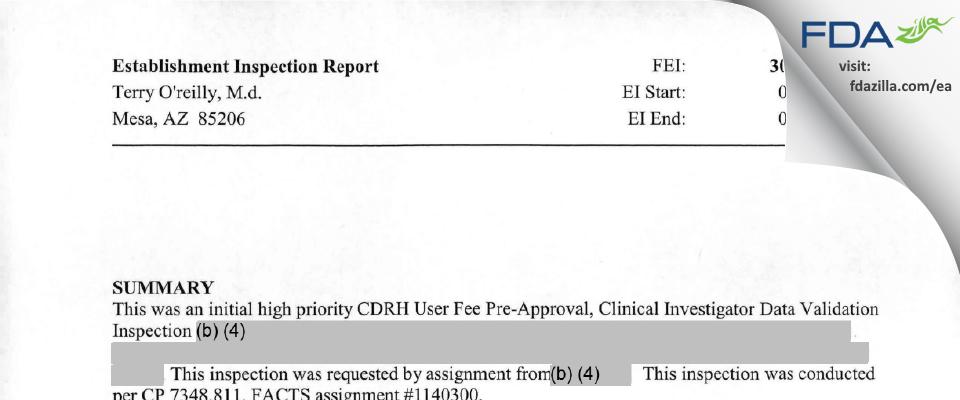 Terry O'reilly, M.d. FDA inspection 483 Mar 2010