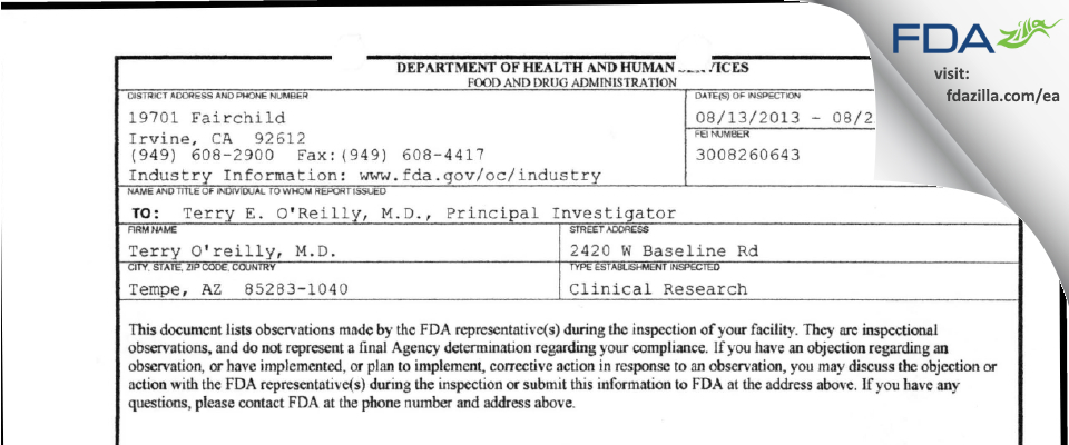 Terry O'reilly, M.d. FDA inspection 483 Aug 2013