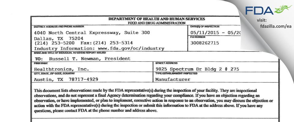 Healthtronics FDA inspection 483 May 2015