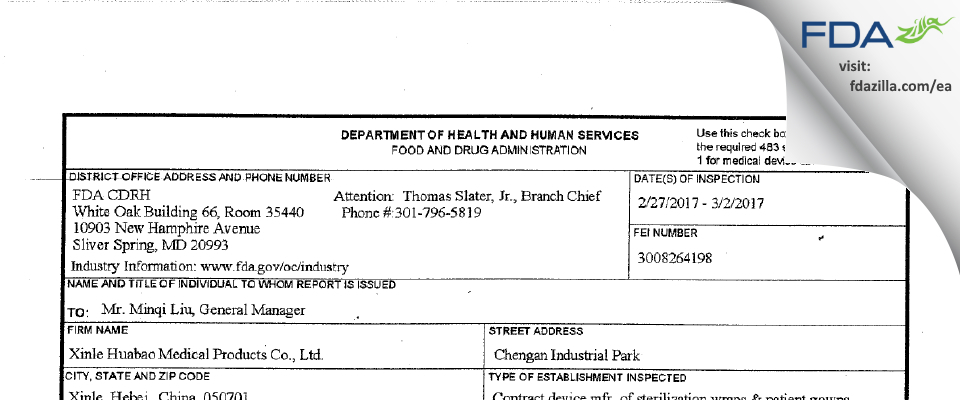 Xinle Huabao Medical Products FDA inspection 483 Mar 2017