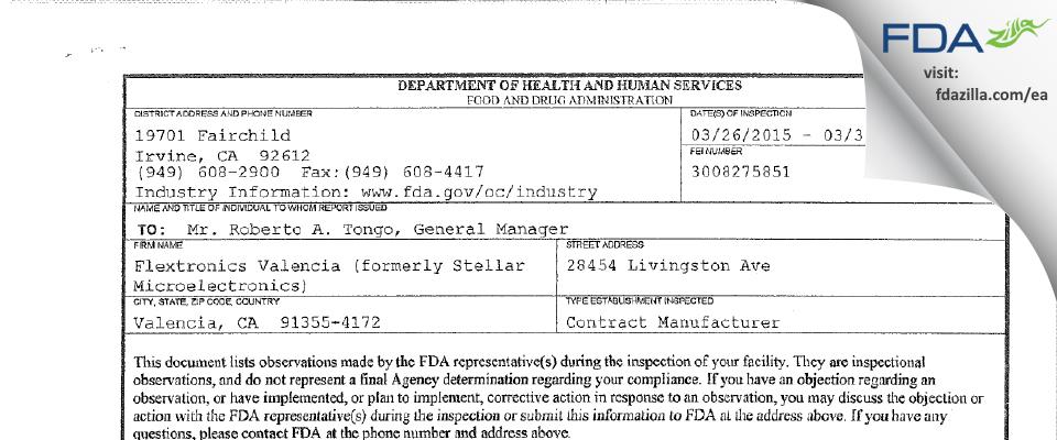 Flextronics Valencia (formerly Stellar Microelectronics) FDA inspection 483 Mar 2015