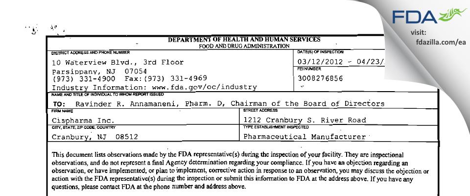 Cispharma FDA inspection 483 Apr 2012