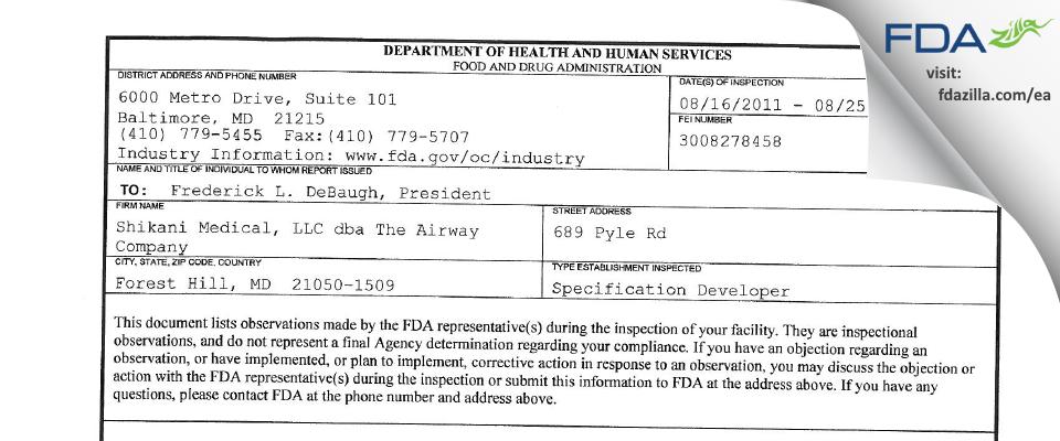 Shikani Medical dba The Airway Company FDA inspection 483 Aug 2011