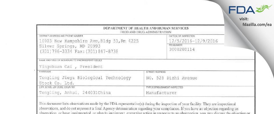 Tongling Jieya Biological Technology Stock FDA inspection 483 Dec 2016