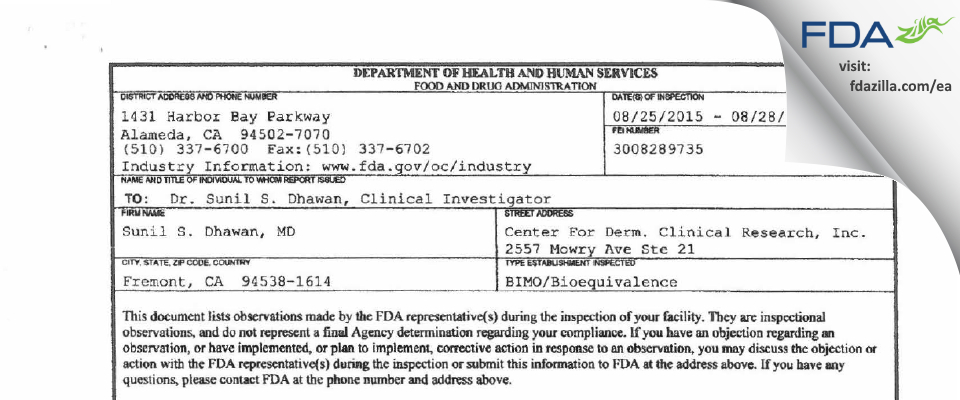 Sunil S. Dhawan, MD FDA inspection 483 Aug 2015