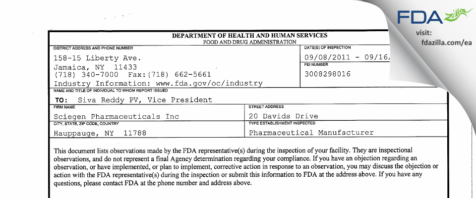 Sciegen Pharmaceuticals FDA inspection 483 Sep 2011