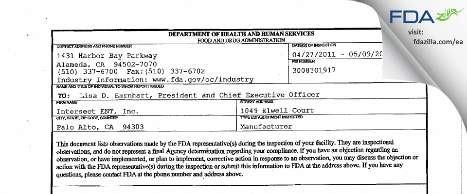 Intersect ENT FDA inspection 483 May 2011